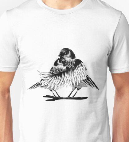 zwei verliebte Vögel Unisex T-Shirt