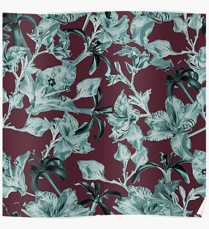 Purple and Teal Tropical Floral by Grand Reverie Poster
