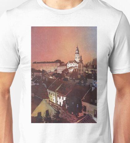 Watercolor painitng of Cesky Krumlov at sunset- Czech Republic Unisex T-Shirt