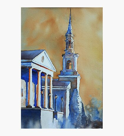 Watercolor painting of church in Cary, NC Photographic Print