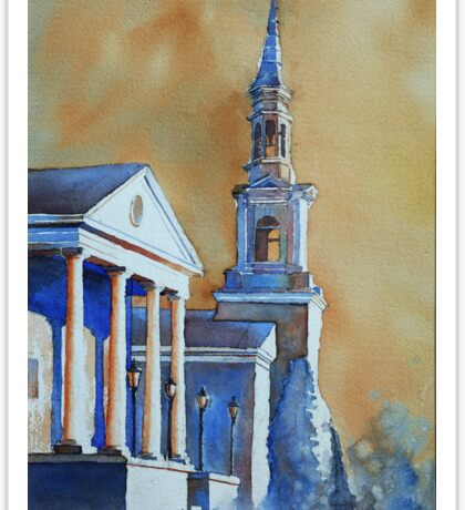 Watercolor painting of church in Cary, NC Sticker