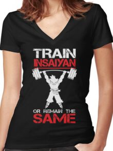 Train Insaiyan Remain Same Women's Fitted V-Neck T-Shirt