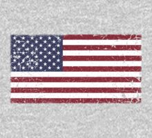 Vintage Look Stars and Stripes American Flag Kids Tee