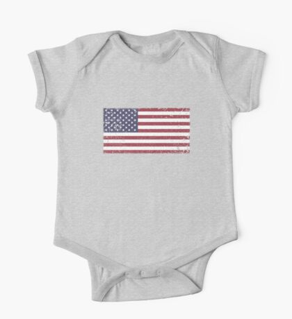 Vintage Look Stars and Stripes American Flag One Piece - Short Sleeve