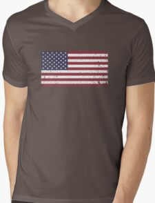 Vintage Look Stars and Stripes American Flag Mens V-Neck T-Shirt