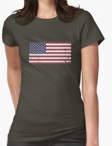 Vintage Look Stars and Stripes American Flag Womens Fitted T-Shirt