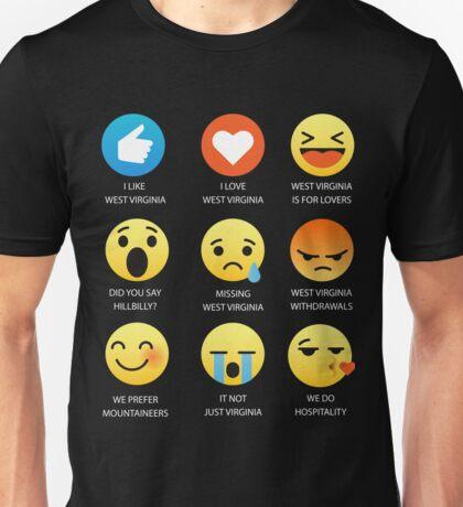West Virginia Emoji Emoticon Funny Graphic Tee Shirt Unisex T-Shirt