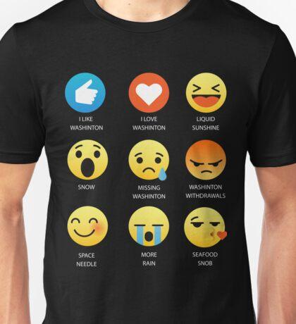 I Like I Love Washington State Fifty Nifty Emoji Emoticon Graphic Tee Unisex T-Shirt