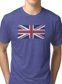 Vintage look Union Jack Flag of Great Britain Tri-blend T-Shirt