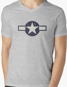 Vintage Look USAAF Roundel Graphic Mens V-Neck T-Shirt