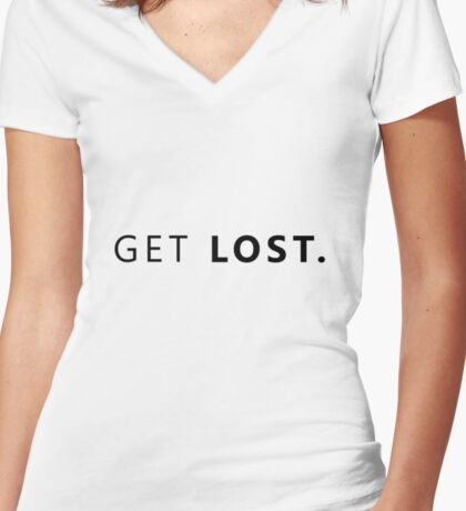 GET LOST. Women's Fitted V-Neck T-Shirt
