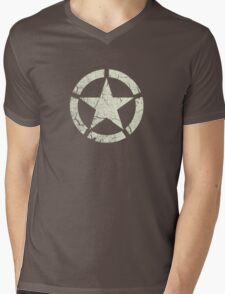 Vintage Look US Army White Star Emblem Mens V-Neck T-Shirt