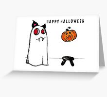 Happy Halloween Cat Ghost Greeting Card
