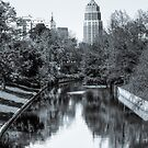 Downtown San Antonio Skyline From the River in Black and White by Gregory Ballos
