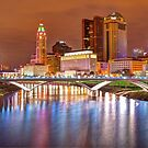 Downtown Columbus Ohio Skyline Panorama at Night by Gregory Ballos