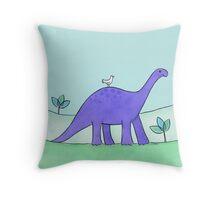 Purple Diplodocus Dinosaur Throw Pillow