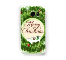 Christmas Holly with Snowy Landscape Samsung Galaxy Case/Skin