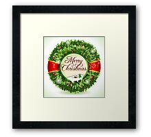 Christmas Holly with Snowy Landscape Framed Print