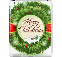 Christmas Holly with Snowy Landscape iPad Case/Skin