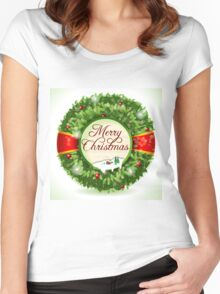 Christmas Holly with Snowy Landscape Women's Fitted Scoop T-Shirt