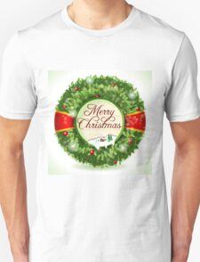Christmas Holly with Snowy Landscape Unisex T-Shirt