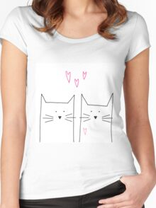 cat and cat and pink Women's Fitted Scoop T-Shirt
