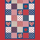 Be my Valentine Hearts and Roses Faux Patchwork by Judy Adamson