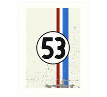 Vintage Look 53 Car Race Number Graphic Art Print
