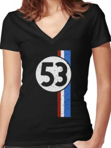 Vintage Look 53 Car Race Number Graphic Women's Fitted V-Neck T-Shirt
