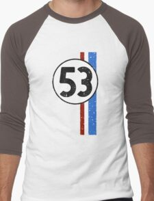 Vintage Look 53 Car Race Number Graphic Men's Baseball ¾ T-Shirt