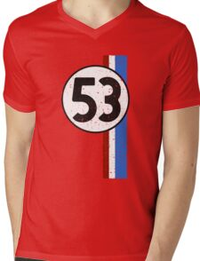 Vintage Look 53 Car Race Number Graphic Mens V-Neck T-Shirt