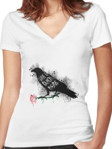 Damon crow version Women's Fitted V-Neck T-Shirt