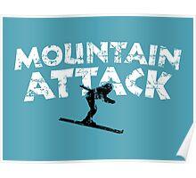 Mountain Attack Winter Sports Ski Design (B&W) Poster