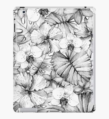 Graphic pattern with leaves and flowers. iPad Case/Skin