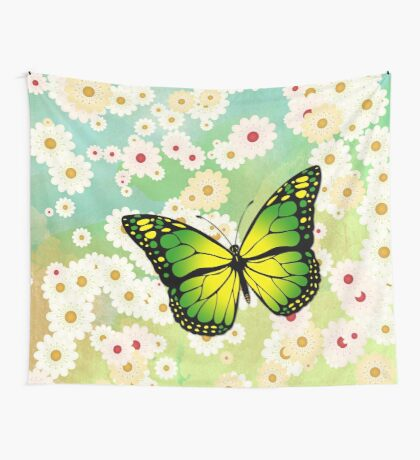 Green butterfly Wall Tapestry