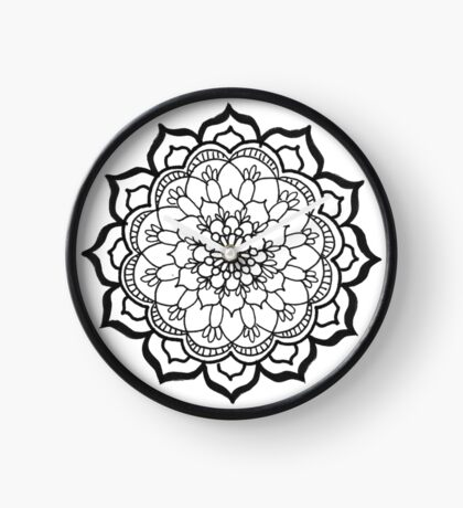 Inés (Black and White Mandala) Clock