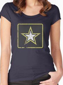 Vintage Look US Army Star Logo  Women's Fitted Scoop T-Shirt