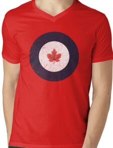 Vintage Look WW2 Royal Canadian Air Force Roundel Mens V-Neck T-Shirt