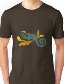 a stylized image of a chameleon, sitting on a branch in the leaves Unisex T-Shirt