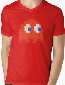 Vintage Look Arcade Pixel Ghost Man  Mens V-Neck T-Shirt