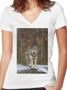 Double Trouble - Timber Wolves Women's Fitted V-Neck T-Shirt