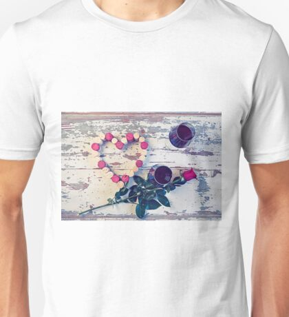 Two glasses of red wine and a heart with corks Unisex T-Shirt