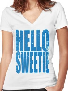 HELLO SWEETIE (BLUE) Women's Fitted V-Neck T-Shirt