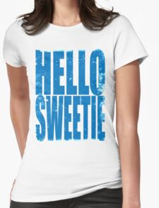 HELLO SWEETIE (BLUE) Womens Fitted T-Shirt