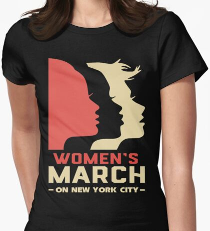 Million Women March On New York City T Shirt Womens Fitted T-Shirt