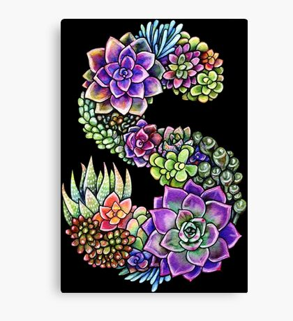 Succulents S with black stroke Canvas Print