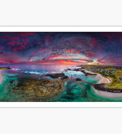 Port Fairy Drone Panoramic Sunset Sticker