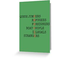REFUGEES ARE PEOPLE Greeting Card
