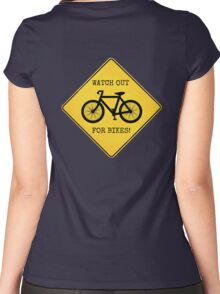 Watch Out For Bikes!! Women's Fitted Scoop T-Shirt