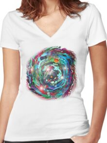 Psychedelic SPACE... 2 Women's Fitted V-Neck T-Shirt